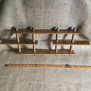 Vintage wooden display shelves for miniatures & tiny collectibles, mid-century